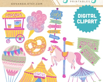 PASTEL CARNIVAL Digital Clipart Instant Download Illustration Clip Art Watercolor Handpainted Circus Popcorn Hot Air Balloon Festival Fair