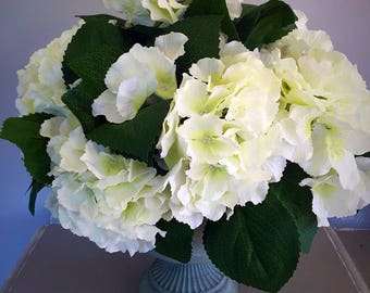 Silk flower hydrangea centrepiece - floral arrangement - white hydrangeas - silk arrangement