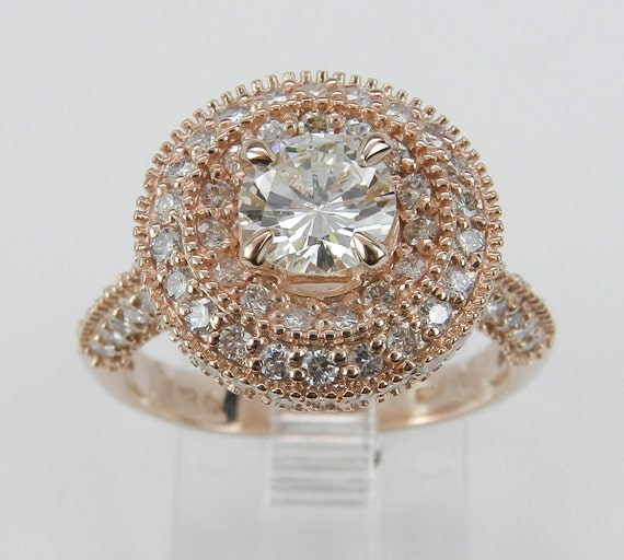 Halo Diamond Engagement Ring 1.75 ct Round Brilliant Natural 14K Pink Rose Gold Size 6.25