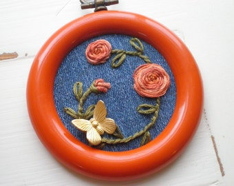 Embroidered Flowers & Butterfly Mini Hoop Art - Vintage 70s Orange Hoop Hand Stitched Floral Rose Embroidery - Fiber / Textile Wall Art Gift