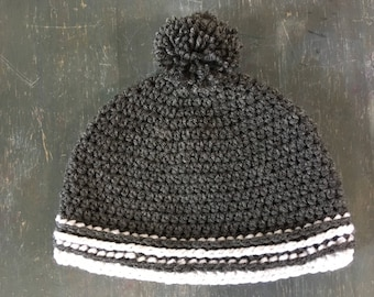 Striped Beanie with pom pom