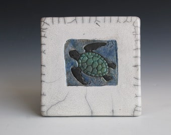 Turtle Tile/Trivet. Sits Flat as a Hot Plate. Also can be wired to Hang on the Wall. Ready to Ship