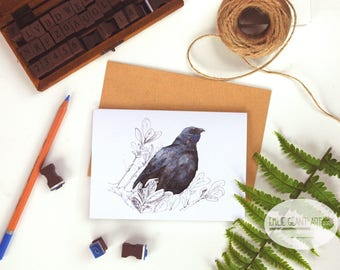 Kokako folded card from the New Zealand native birds series by Emilie Geant, from original watercolor painting