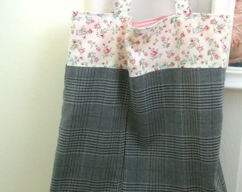 Cotton Tote bag with pink Floral and gray Plaid, ready to ship, Reusable shopping bag, Market bag, sustainable, Earth day, Mother's day