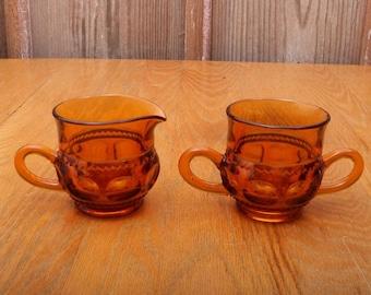 Vintage Amber Indiana Glass Co Kings Crown Thumbprint Cream and Sugar