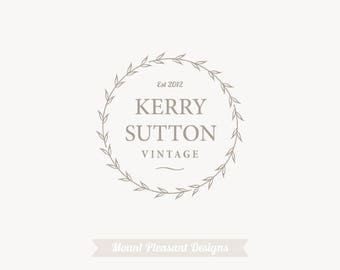 Logo design - premade logo design -  business logo design - wreath logo design