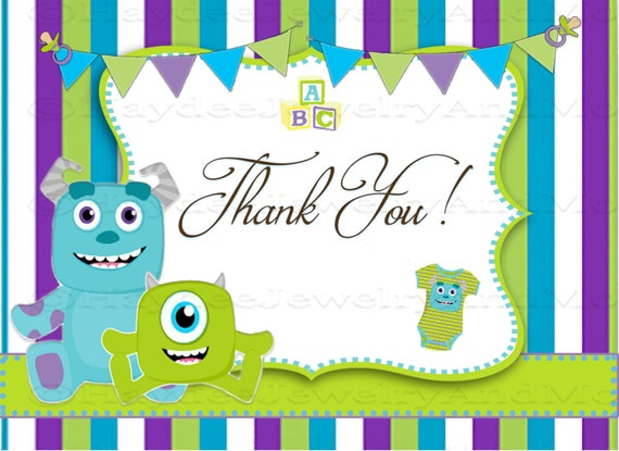 Monster Inc Baby 5.5x4 Flat Thank You card Two Background