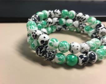 Black and green beaded bracelet
