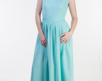 CLEARANCE - one size sale - Pastel green bridesmaid dress Modest bridesmaid dress long Lace pastel green dress bridesmaid