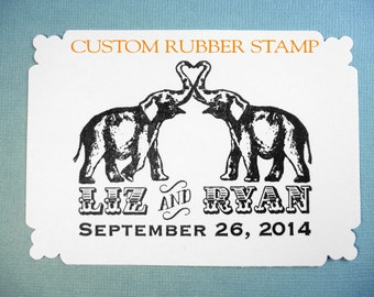 Elephant Save the Date Wedding Rubber Stamp // Elephant Circus Theme // Handmade by Blossom Stamps
