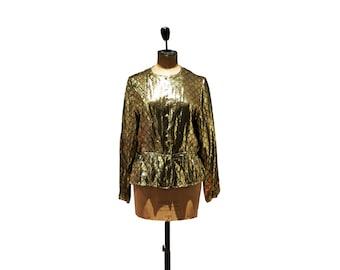 vintage 1980's lame' gold blouse, chemise