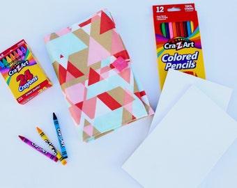 Mini Art Notebook - Travel Art Kit or Journal for the Little Artist