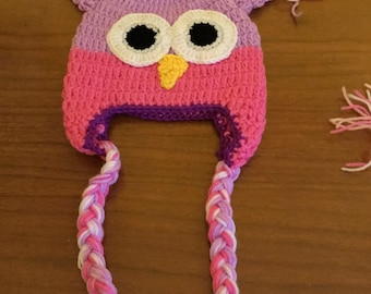 Hand knit Owl hat for babies