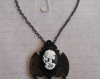 Gothic Lolita lady skull cameo in white with bat wings necklace and beads