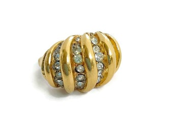 Vendome ring Gold dome ring with crystals Rare and Unique adjustable statement ring Vintage jewelry gift