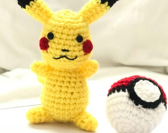 Pikachu Pokemon & Pokeball crochet