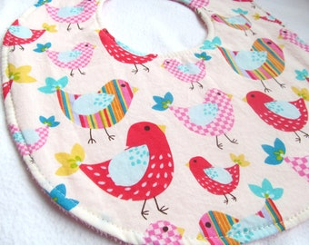 Boutique Bib - Rainbow Birdies - Cotton bib with pink terry cloth backing
