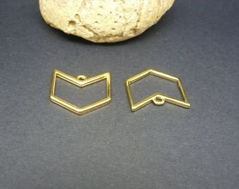 2 charms chevron geometric 16 * 15 mm gold-plated zamak (PPBD02)