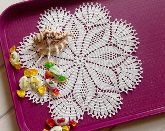 Crochet doily White lace doily White crochet doilies Cotton lace doilies 12 inches crochet doilies Round doily Table decor elements 341