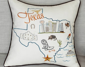 Free Shipping-Texas State Embroidered Pillow cover Decorative Pillow Throw Pillow Case Map Birthday Gift Graduation Gift Anniversary Gift