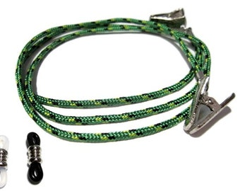 Greens with Black Paracord Eyeglass Holder, Pick your Eyeglass Grips, Pick Your Size, Eyeglass Chain, Eyeglass Lanyard, Eyeglass Cord, 314