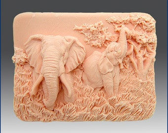 2D Silicone Soap Mold - Enchanting Elephants