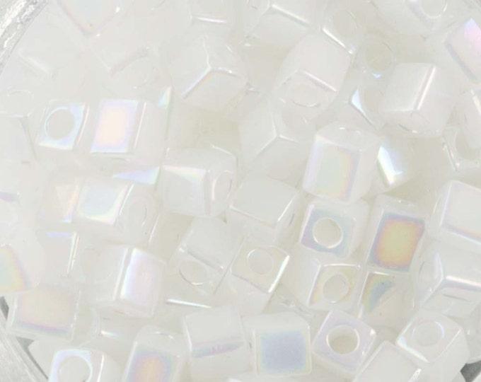 Rainbow Opaque Translucent White Miyuki Cube Seed Bead 4mm 20gm Tube SB4-550R-TB