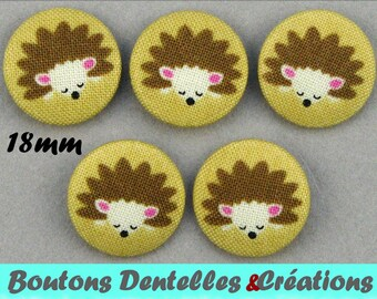 Fabric covered buttons - hedgehogs - 18mm - (18-02)
