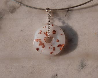 White glass fusing and copper mica pendant
