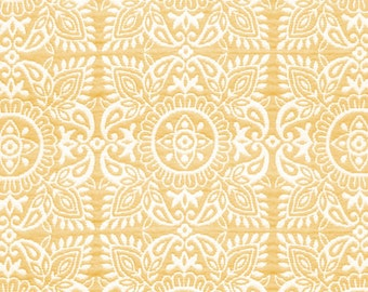 Buttercup Floral Square Matelasse Upholstery Fabric By The Yard