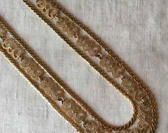 CLEARANCE Vintage Monet 3 Strand Necklace, Gold Tone, Long Necklace, PK160
