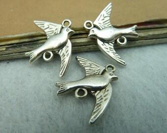 40 Antique Bronze Antique Silver Bird Connectors AC3079