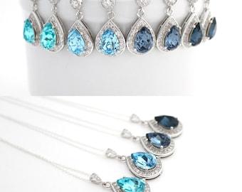 Light Blue Bridesmaid Jewelry Set, Aquamarine Bridal Jewelry, Blue Earrings and Necklace Set, Beach Wedding Jewelry, Blue Swarovski Jewelry