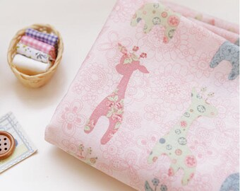 Cotton Fabric Baby Giraffes - Pink - By the Yard 33648