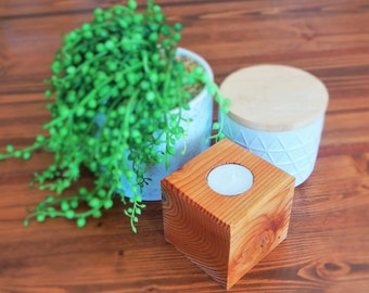 Douglas Fir tealight candle holder