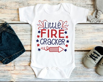 4th July Baby Clothes - Little Fire Cracker - July 4th Baby Outfit - Red White & Blue Bodysuit