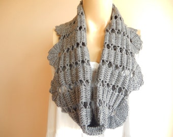 Grey Crochet  Neckwarmer-Gray crochet Capelet-Grey Lace Cowl