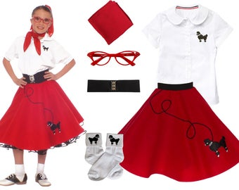 6 pc LARGE Child (10-12) 50's Poodle Skirt OUTFIT