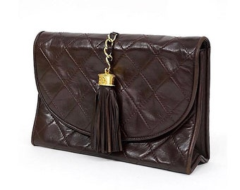 Authentic Vintage Chanel Brown Quilted Lambskin Tassel Clutch