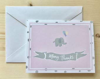 Elephant Pink Thank You Card