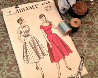 Vintage Dress Pattern 1950's From Advance Size 12 (Vintage Size)  Bust 30 Hip 33 for Vintage Sewing