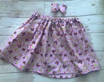 Handmade pink flower butterfly skirt and bow set