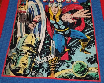 Thor comic quilted throw