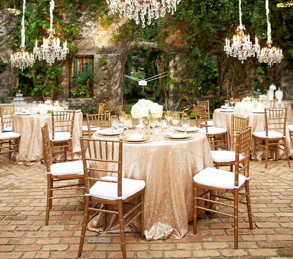 Champagne Gold Sequin Tablecloth Round Wedding Tablecloth