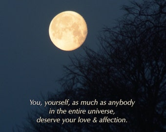 You deserve... Buddha quote, Golden Moon photograph with quotation, word art, self love & affection, inspiring words, self development aid