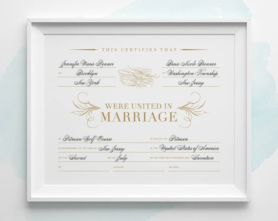 Customized Printable Marriage Certificate Gold And Black