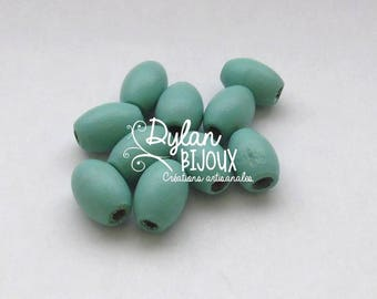 10 oval wooden beads / olive blue ' sea green 10 x 16 mm