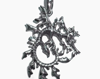 Leafy Sea Dragon necklace , Sterling silver double sided sea dragon pendant.
