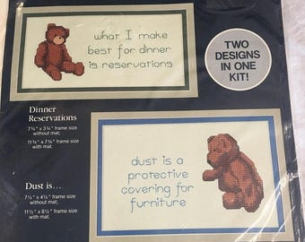 35% off Sale Pair of counted cross stitch bears with funny sayings by Dale Burdett unopened kitchen