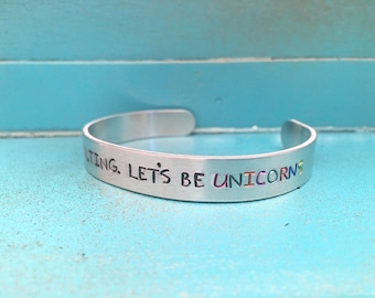 I'm Done Adulting Hand Stamped Cuff Bracelet, Let's Be Unicorns Bracelet, Unicorn Jewelry, Fantasy Jewelry, Fantasy Bracelet, Gift For Her